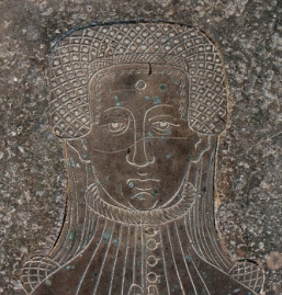 1390 - 1400 Lady Cassey - Brass Rubbing Church of St. Mary Deerhurst, Gloucestershire, England